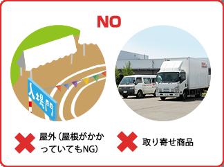 NO:屋外(屋根がかかっていてもNG)/取り寄せ商品